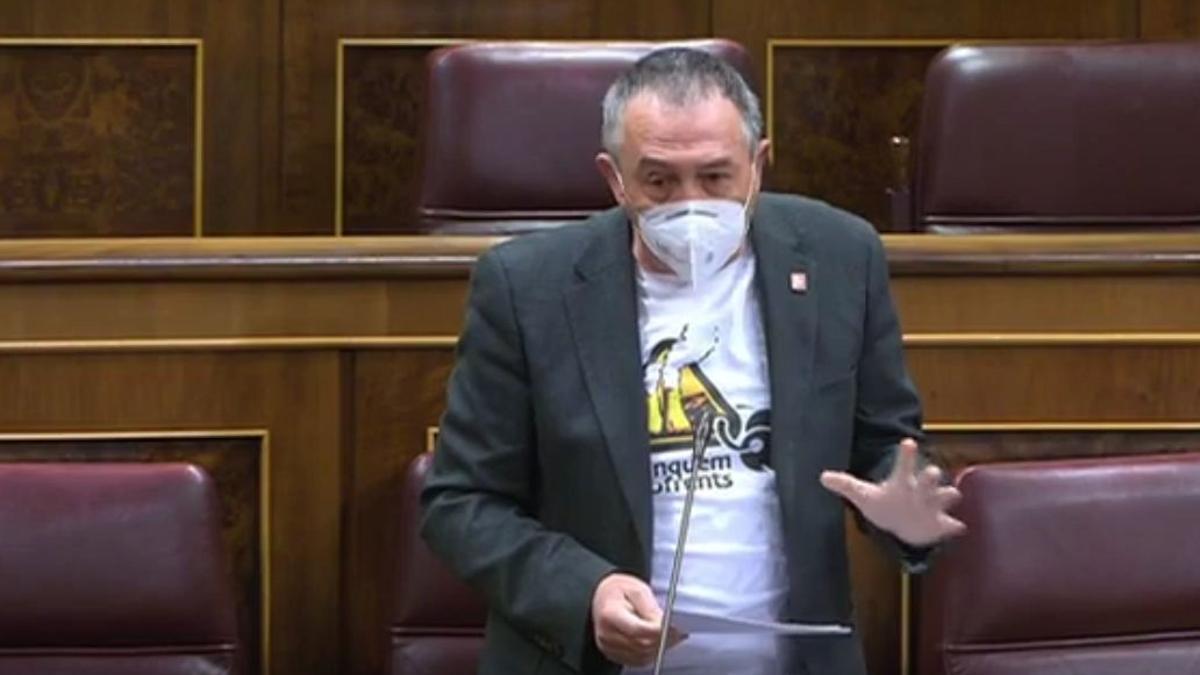 El diputat de Compromís en el Congrés, Joan Baldoví, durant la seua intervenció d'aquest dimecres.