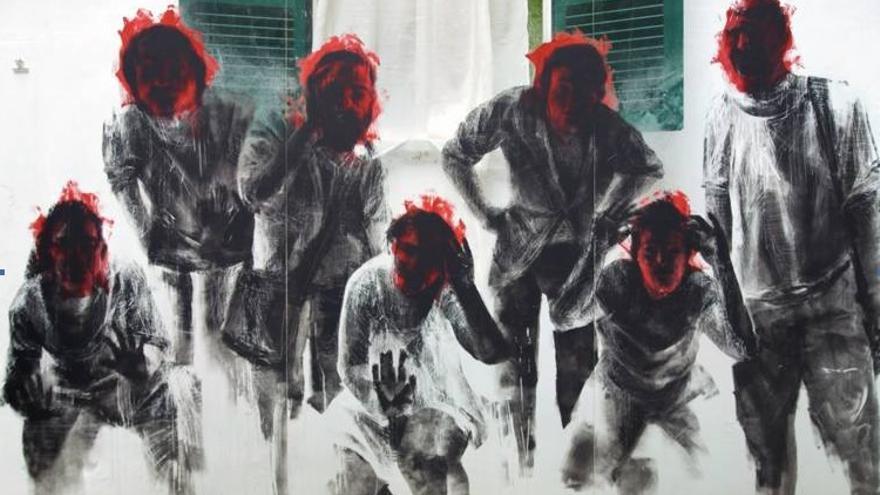Cartel de la obra de teatro '¿Es lo que hay?, obra del artista Borondo.