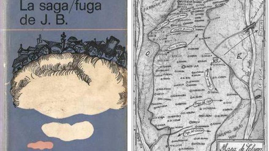A la izquierda, portada de 'La saga/fuga de J.B.' con Castroforte levitando sobre una nube. A la derecha, Mapa de Celama publicado por El Mundo