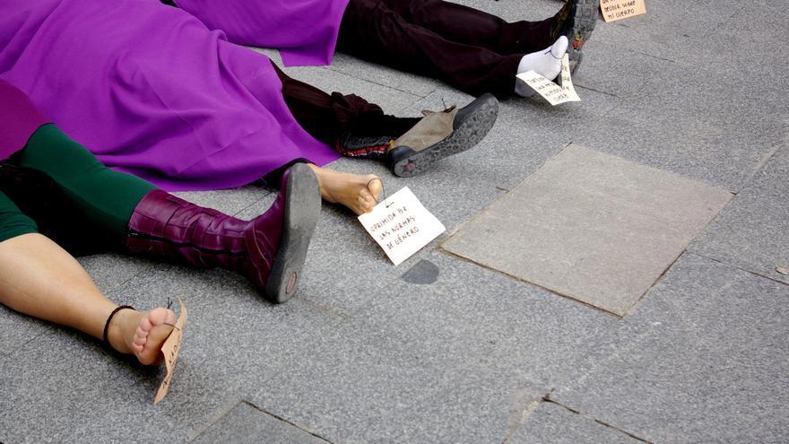 Protesta contra la violencia machista. Del centro de medios del Eje Feminista.