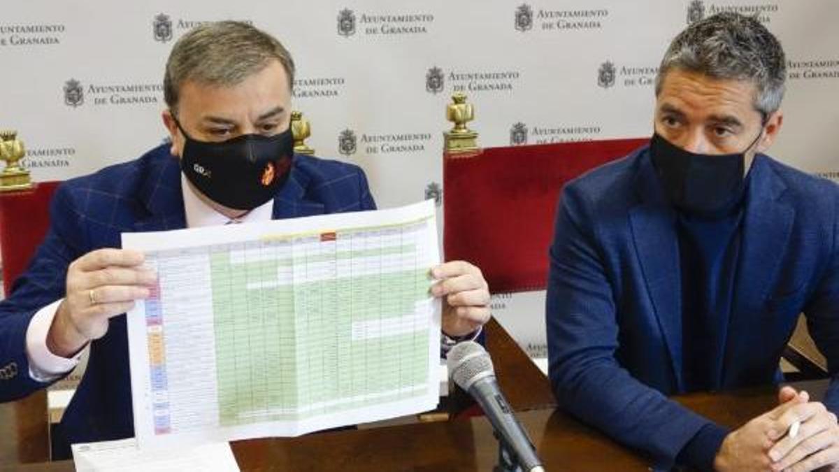 Sin los dos concejales encargados, Francisco Fuentes a la izquierda de la imagen y Manuel Olivares a la derecha, las gestiones se eternizan y los plazos se ponen en peligro