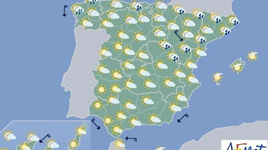 Hoy, viento en Cantábrico, Mediterráneo y Canarias, donde puede ser fuerte
