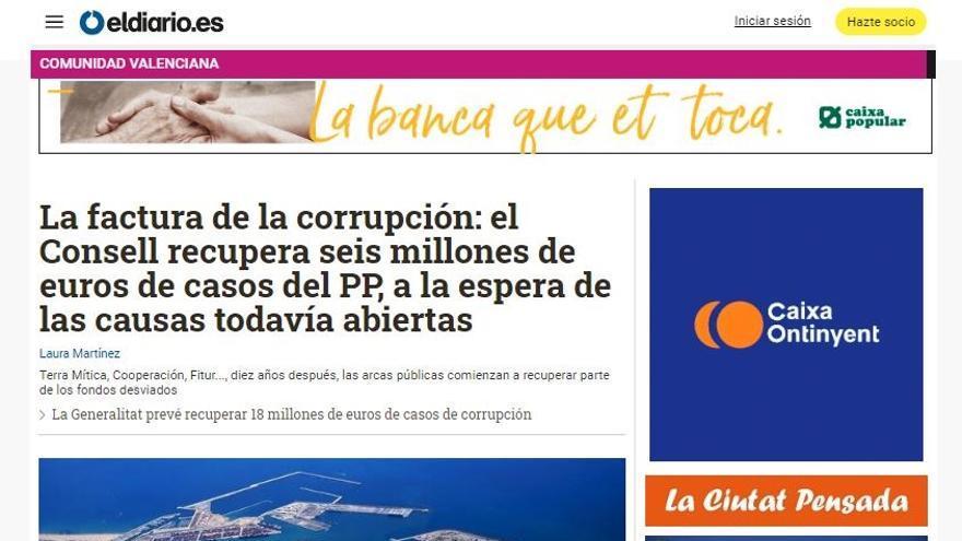 Portada de la edición de eldiario.es en la Comunitat Valenciana.