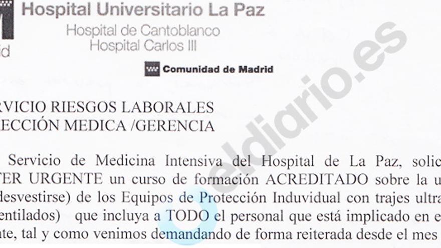 Una de las cartas remitidas por los médicos del Hospital La Paz quejándose por la falta de formación y recursos para tratar el ébola