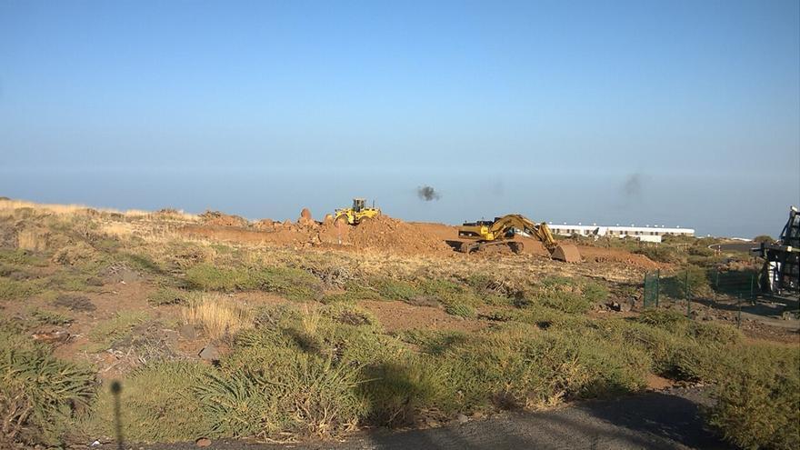 Imagen de la obra captada este martes de la webcam de la obra del LST 1.