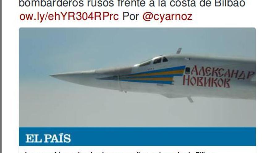 Captura de un tuit de El País con una información sobre bombarderos rusos frente a la costa de Bilbao