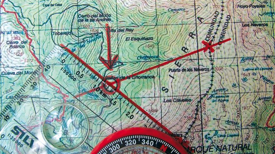 3. Triangulación en el mapa.  Nos dirá dónde nos encontramos.