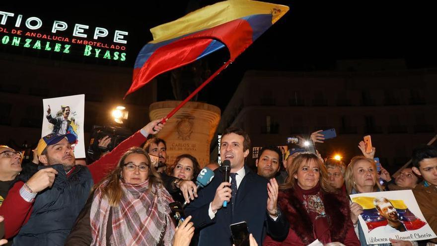 Casado, el pasado miércoles, en una concentración de la oposición venezolana en la Puerta del Sol de Madrid.