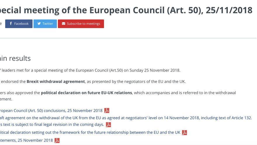 Página web del Consejo Europeo del 25 de noviembre.