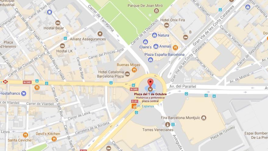 La rebautizada Plaça de Espanya en Google