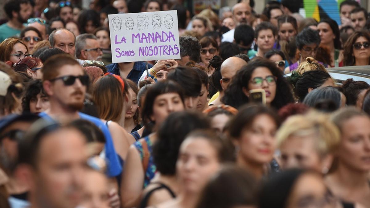 Concentración en Madrid contra la puesta en libertad de los miembros de la manada