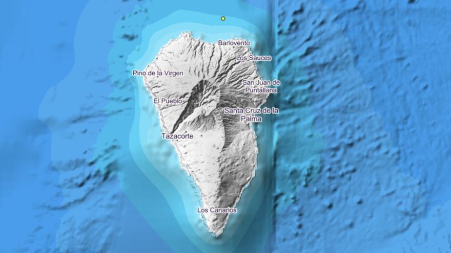 Imagen del IGN donde se indica con un punto el lugar exacto donde se ha localizado el movimiento sísmico este lunes en la costa norte de La Palma.