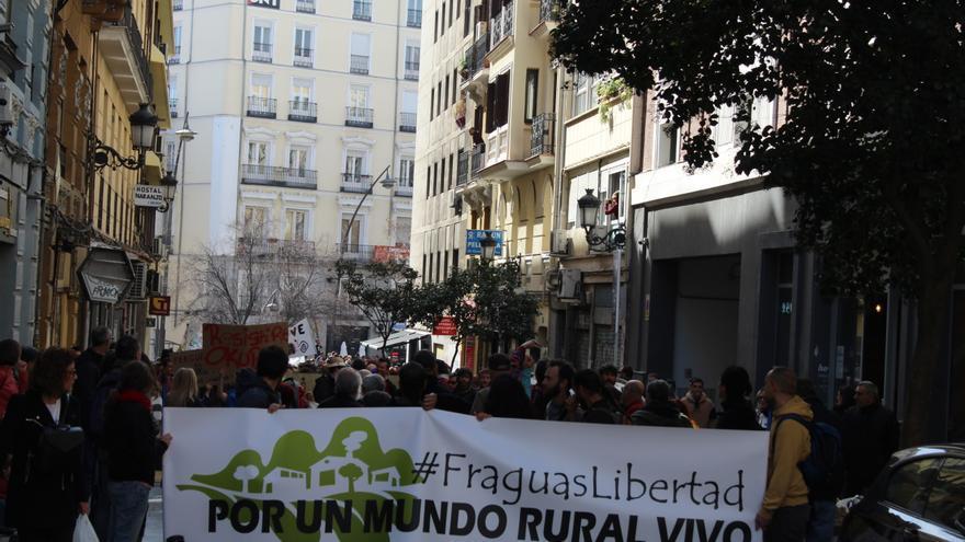 Manifestación en apoyo a los repobladores de Fraguas (Guadalajara), hoy en Madrid