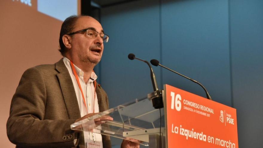 Javier Lambán, en el XVI Congreso del PSOE Aragón.