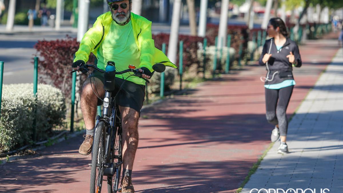 Un ciclista por el carril-bici