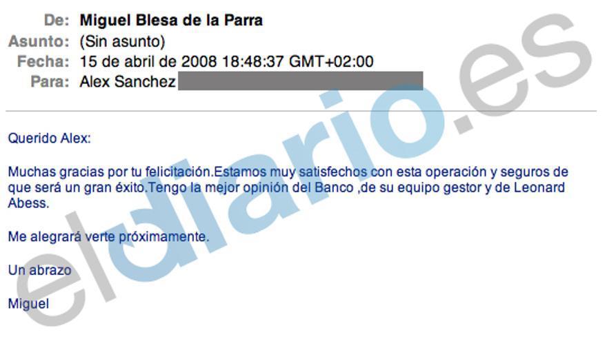 Captura de uno de los emails de Blesa.