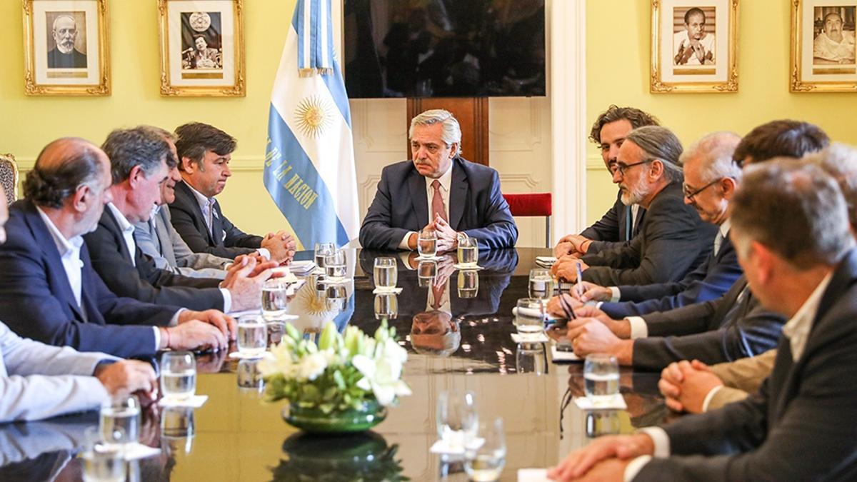 La mesa de las entidades agropecuarias, en uno de sus encuentros con el presidente Fernández en la Casa Rosada