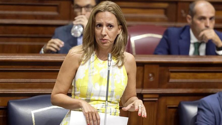 La consejera de Hacienda del Gobierno de Canarias, Rosa Dávila, responde a un pregunta durante la sesión de control al Gobierno en el Pleno del Parlamento de Canarias celebrado hoy en Santa Cruz de Tenerife.EFE/Ramón de la Rocha