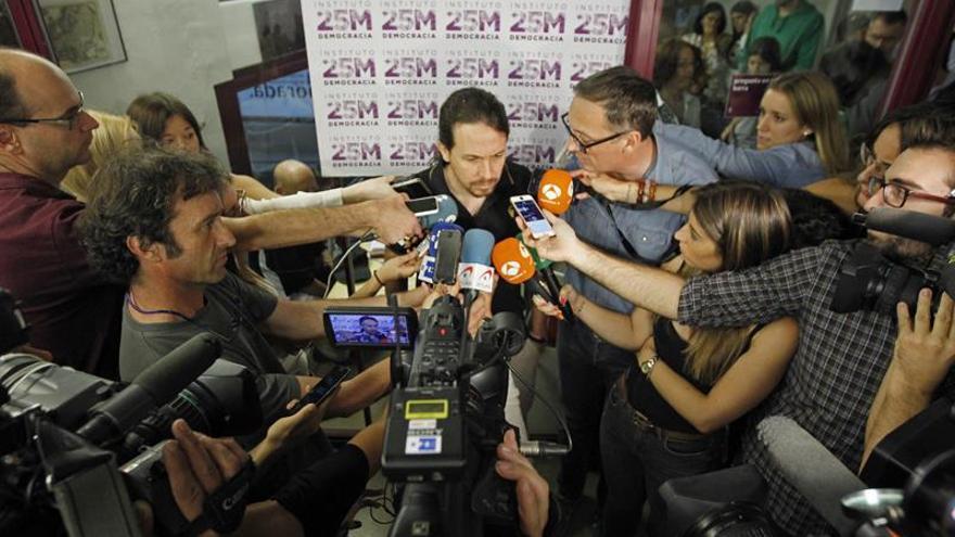 Pablo Iglesias, en La Morada antes del acto de esta tarde.