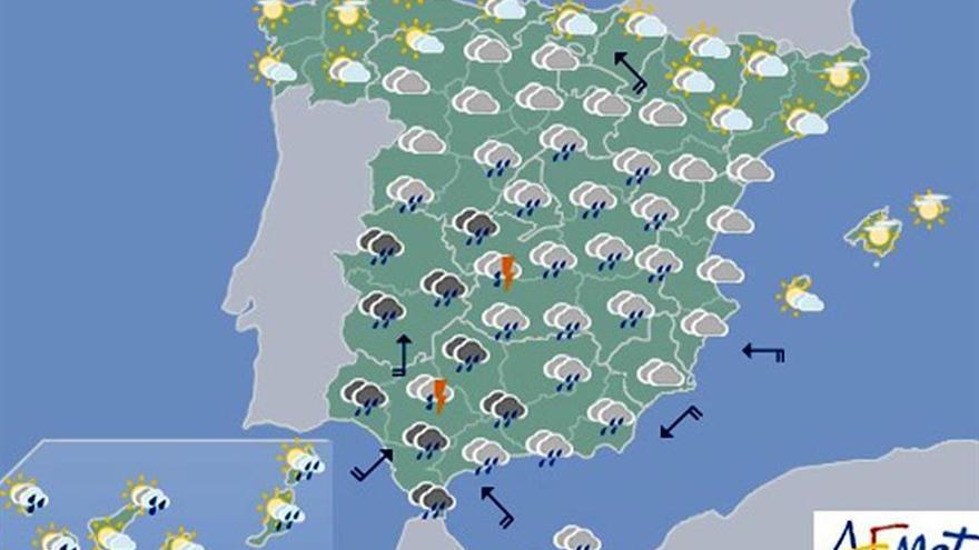 Hoy lloverá en el sur de la península y Canarias y subirán las temperaturas