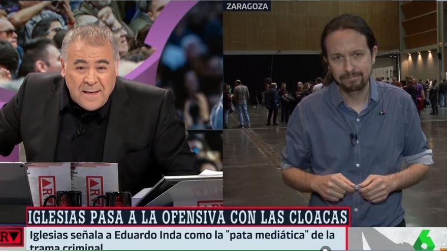 Imagen del enfrentamiento entre Pablo Iglesias y Antonio García Ferreras.