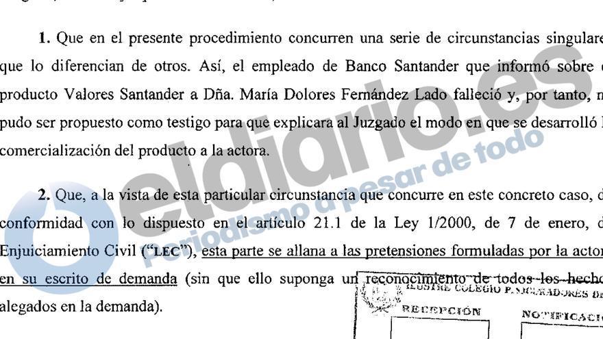 Escrito de Allanamiento Valores Santander