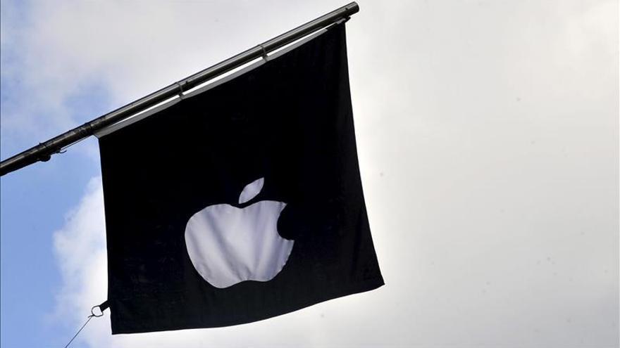 Bandera con el símbolo de Apple.