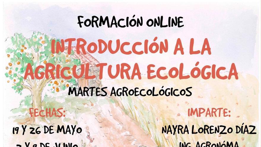 Cartel del curso online de introducción a la agricultura ecológica.