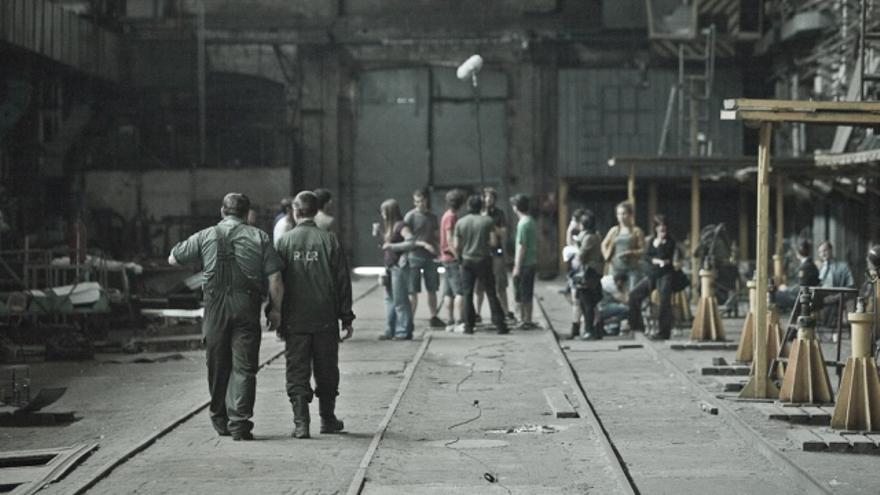 El equipo de El cosmonauta durante el rodaje