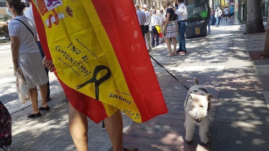 Uno de los seguidores de Vox, durante la marcha