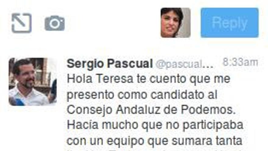 Mensaje de Sergio Pascual a Teresa Rodríguez.