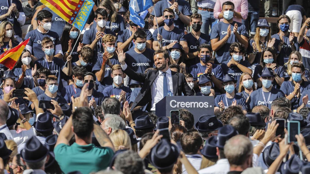 Pablo Casado clausura en la plaza de toros de Valencia la Convención Nacional del PP.