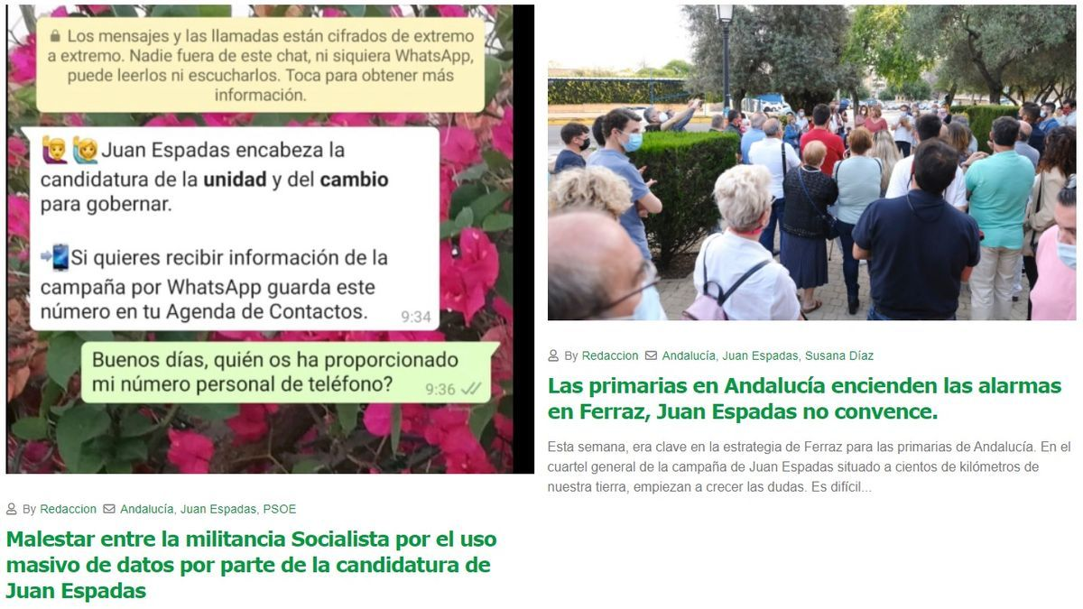 Artículos publicados en la web Andalucía Opina