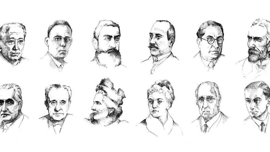 Roque Barcia, Rosario de Acuña, Guillermina Rojas o Eduardo Ortega y Gasset, en el libro 'Activistas, militantes y propagandistas'. | Jorge Muñoz