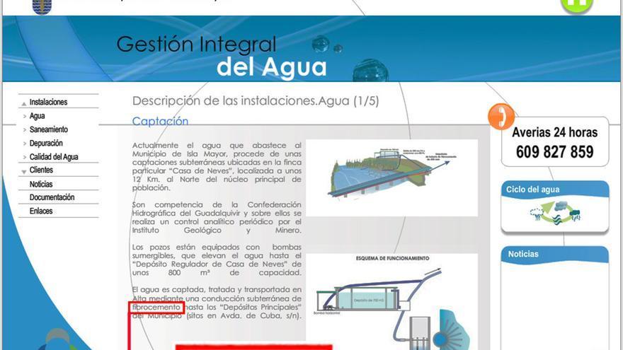 """""""Conducción subterránea de fibrocemento"""", reza la web del Servicio Municipal de Abastecimiento de Agua Potable, Saneamiento y Depuración de Isla Mayor."""