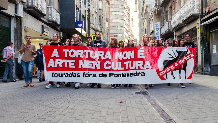 Manifestación contra la tauromaquia celebrada en Pontevedra el pasado 13 de agosto. Foto: colectivobritches.com