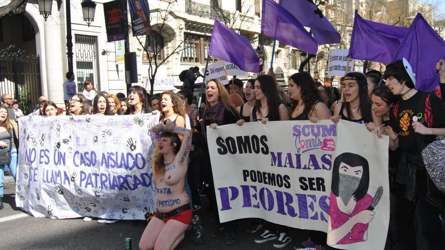 Una de las pancartas de la manifestación del 8 de marzo en Madrid. \ Mercedes Domenech