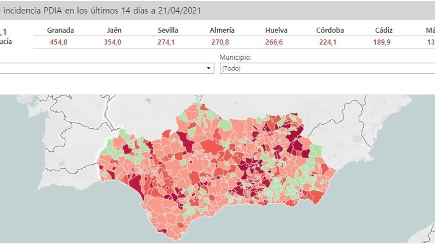 Incidencia del covid en Andalucía este miércoles 21 de abril.