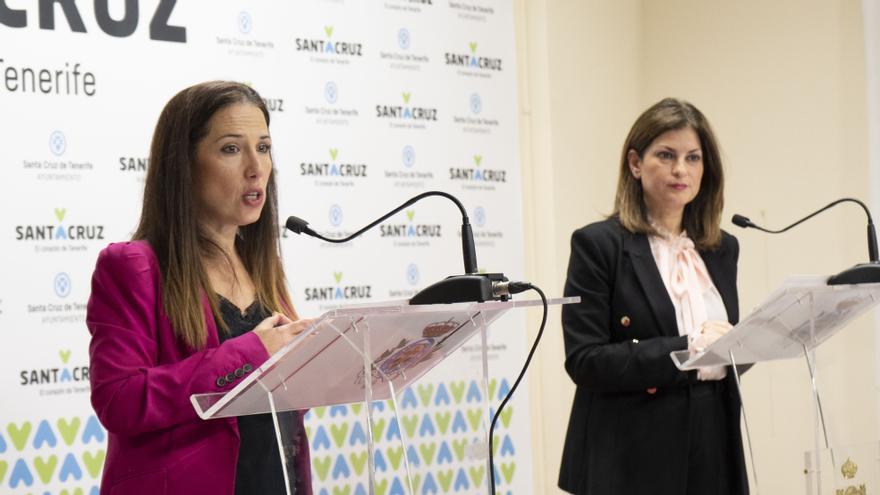 La alcaldesa de Santa Cruz de Tenerife, Patricia Hernández, y la concejala de Promoción Económica, Matilde Zambudio.