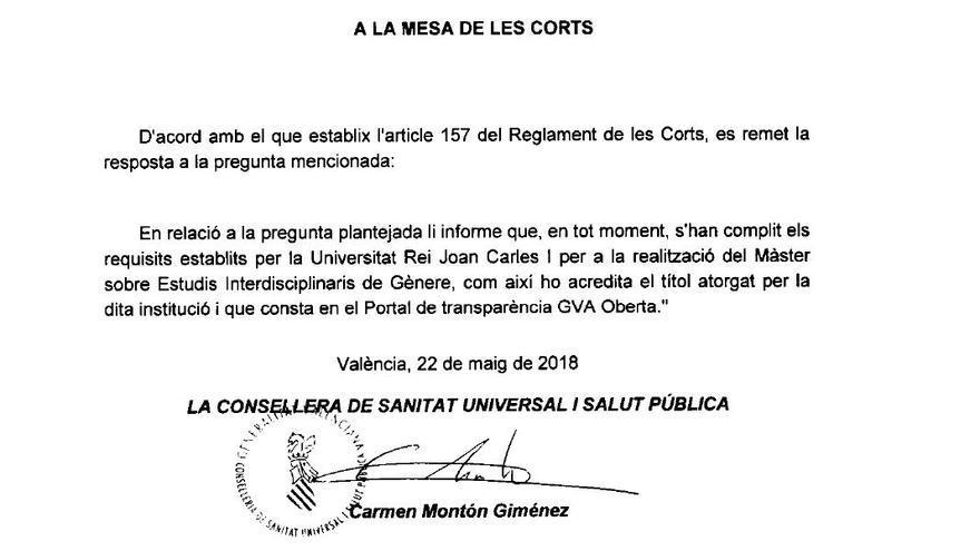 Respuesta de Carmen Montón sobre su máster recogida en el Boletín de las Cortes valencianas