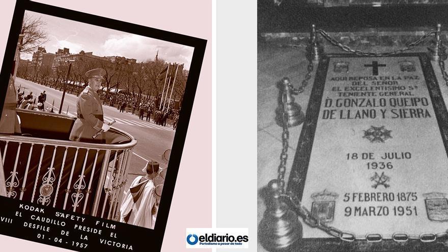 Fotomontaje con la portada del último boletín de la Fundación Nacional Francisco Franco y la tumba de Queipo de Llano en La Macarena.