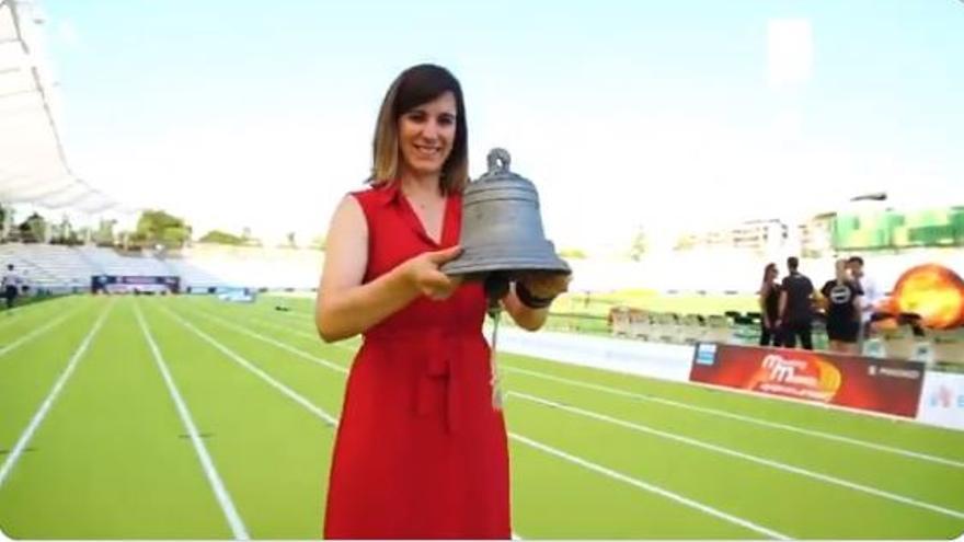 Sofía Miranda, concejala de Deportes, inaugurando el estadio de Vallehermoso de Madrid.