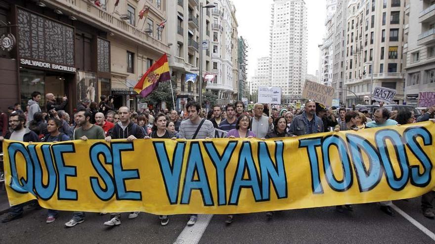 El rechazo a la clase política ha estado presente en todas las manifestaciones. Foto: Efe