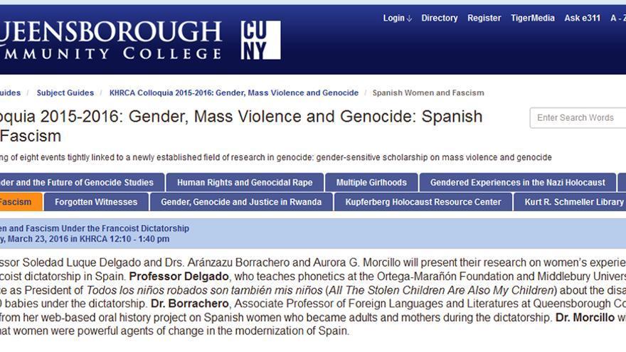 'Gender, Mass Violence and Genocide: Spanish Women and Fascism' en la Universidad de la Ciudad de Nueva York.