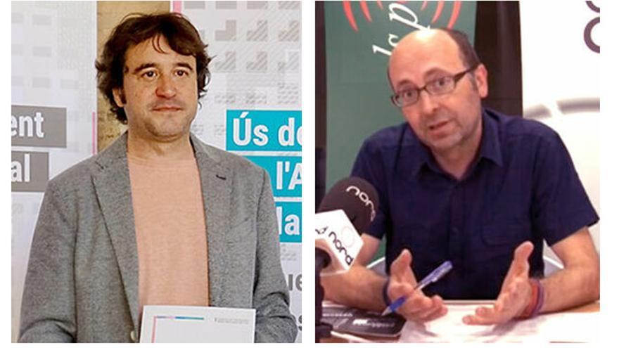 El director general de Política Lingüística, Rubén Trenzano, y el empresario castellonense Francis Puig, hermano del president de la Generalitat.