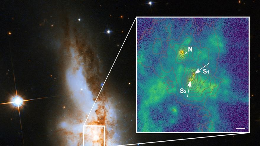Detectados 3 agujeros negros supermasivos en galaxias que se están fusionando