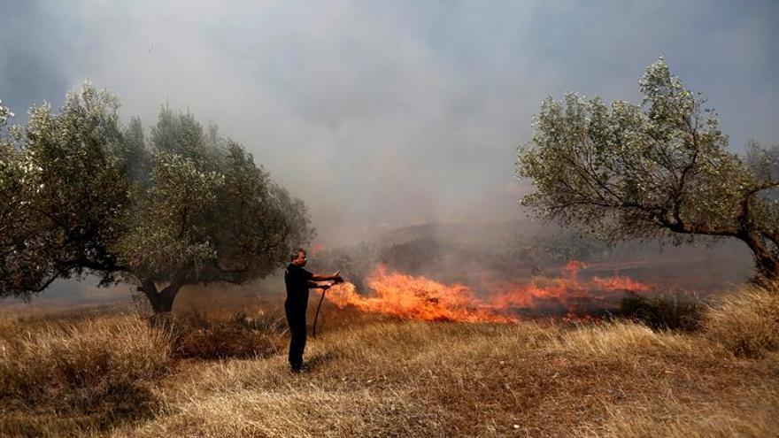 Los bomberos luchan por tercer día contra un incendio en la isla griega de Citera