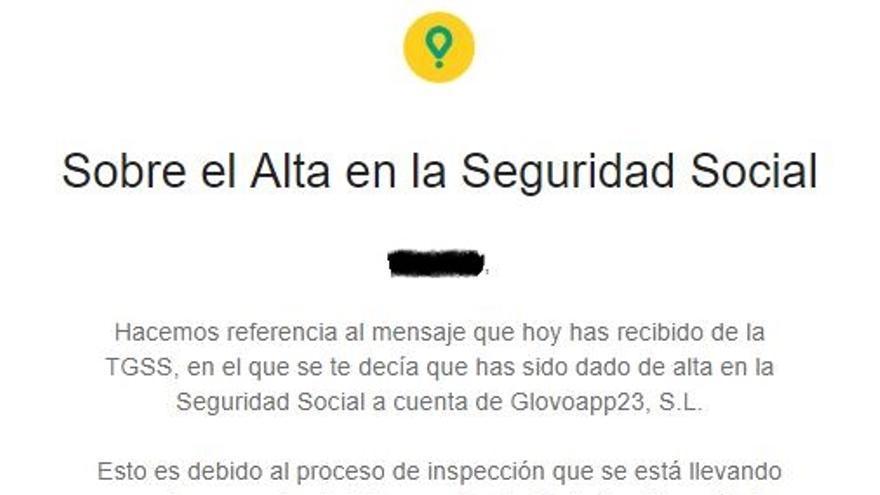 Mensaje de Glovo a sus repartidores en los que les avisa que impugnara que hayan sido dados de alta en la Seguridad Social.