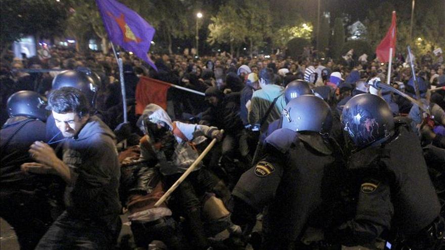 Las unidades de intervención policial (UIP) durante una manifestación en Madrid