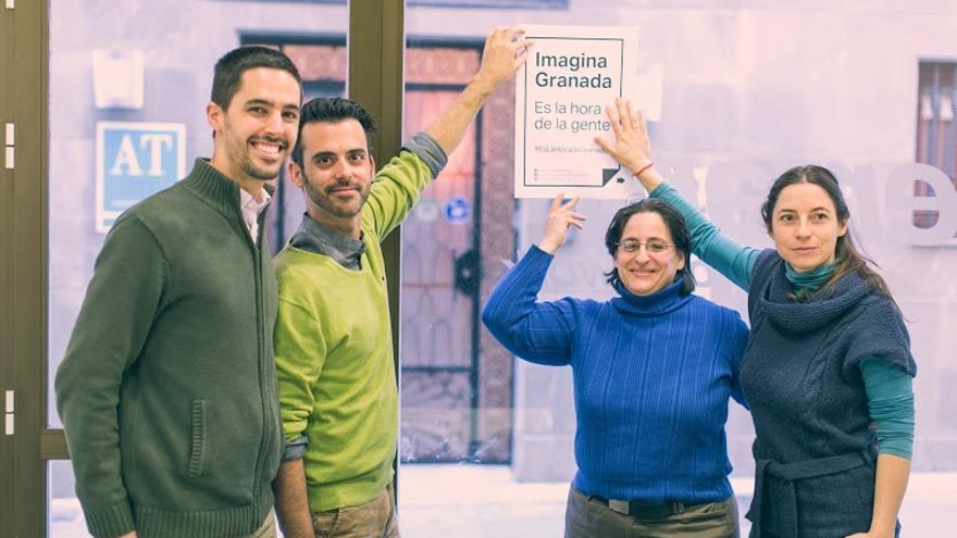 Antonio Folgoso (SAT), Manuel Merino (Equo), Isabel Vélez y Marta Gutiérrez (Podemos), portavoces de Imagina Granada. Foto: S.Fornell